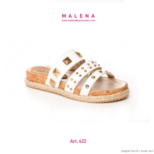 Malena verano 2016 - sandalias blancas chatitas con tachas
