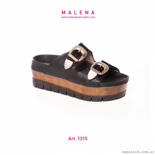 Malena verano 2016 - sandalias negras chatitas