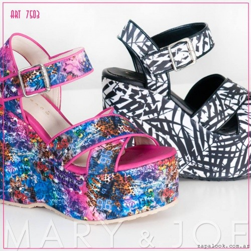 Mary and Joe Sandalias estampadas juveniles con plataformas verano 2016