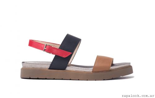 TOSONE verano 2016 - Sandalia de cuero con dos fajas y hebilla roja camel y negra