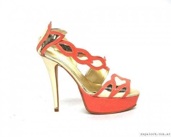 Mary Roose - sandalia de noche dorada y roja