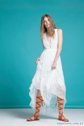 Sandalias gladidora con vestido largo verano 2016 - calzados chocol