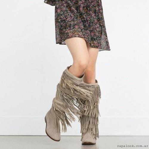 Botas altas con flecos invierno 2016