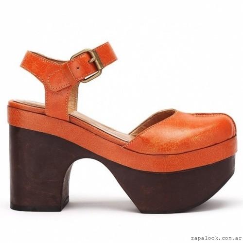 Zapatos naranja base de madera Pepe Cantero - Zapatos de fiesta invierno 2016