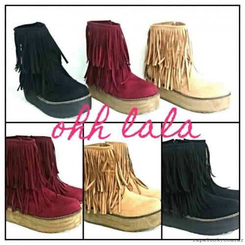 botas gamuza con flecos otoño invierno 2016 - Lauretta