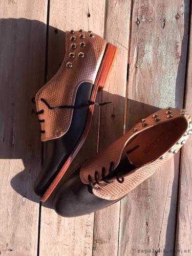 zapatos abotinado negro y marron invierno 2016 - Miki & Choya