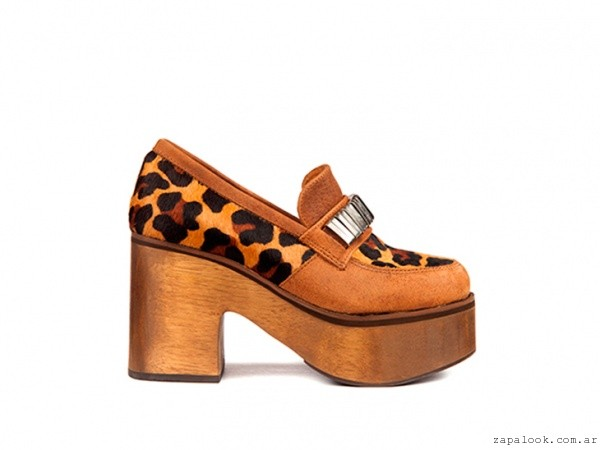 Mocasines animal print  base madera invierno 2016 - Donne