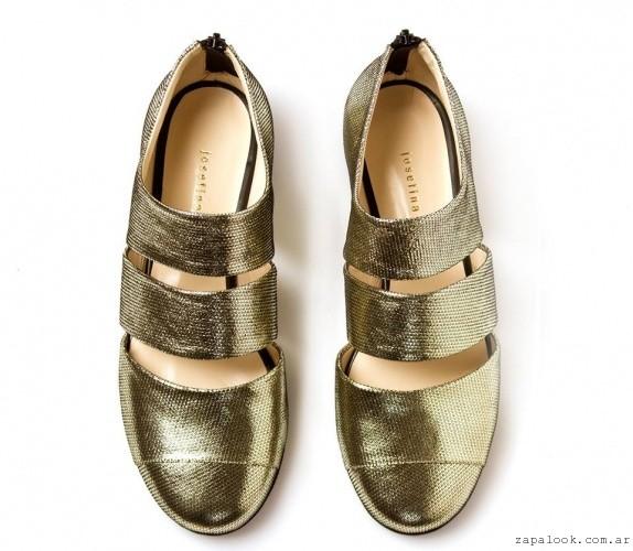 Zapatos dorados chatos  invierno 2016 - Josefina Ferroni