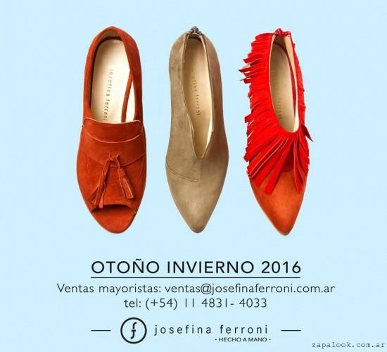 Zapatos elegantes chatos invierno 2016 - Josefina Ferroni
