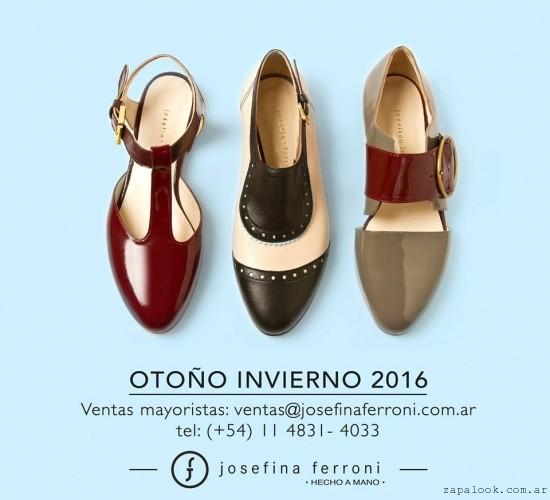 Zapatos punta redonda chatos invierno 2016 - Josefina Ferroni