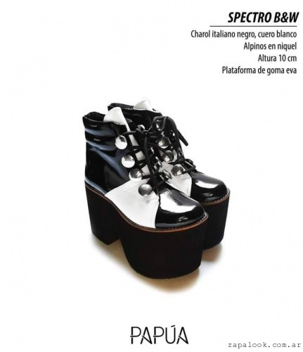Borcego en blanco y negro invierno 2016 - Papúa Zapatos