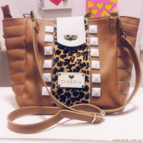 Cartera marron con animal print invierno 2016