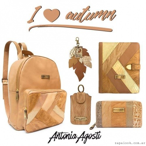 Mochila agenda billetera llavero marron invierno 2016 Antonia Agosti Bags