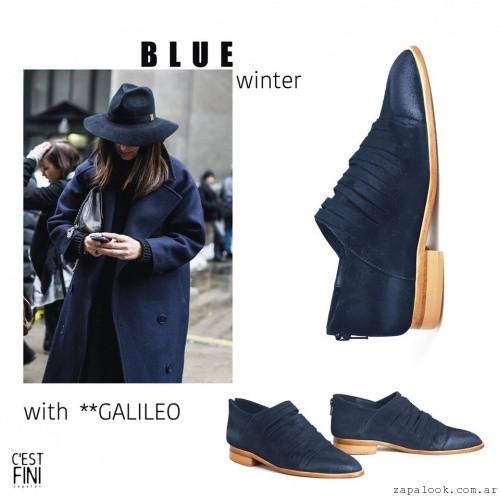 Zapatos bajos azules invierno 2016 - Cestfini