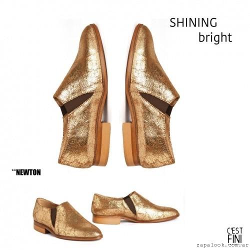Zapatos dorados bajos cerrados invierno 2016 - Cestfini