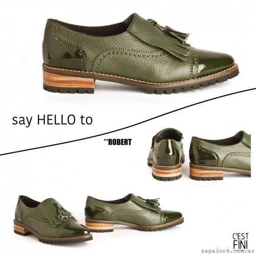 Zapatos verdes bajo invierno 2016 - Cestfini