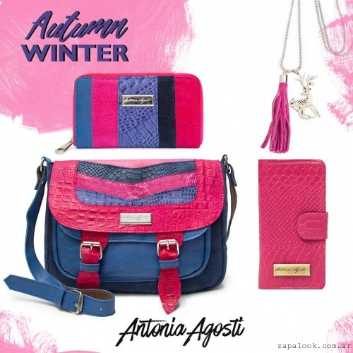 bandolera y billetera fucsia y azul invierno 2016 Antonia Agosti Bags