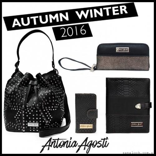 bolso con tachas billetera agenda negra invierno 2016 Antonia Agosti Bags