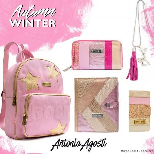 mochila billetera y accesorios rosa y dorado invierno 2016 Antonia Agosti Bags