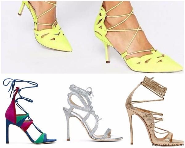 sandalais y zapatos con tiras atadas verano 2017