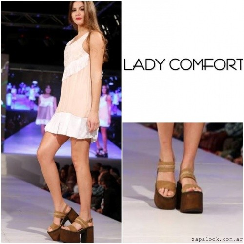 Sandalias marrones con base simil madera verano 2017 - Lady Comfort