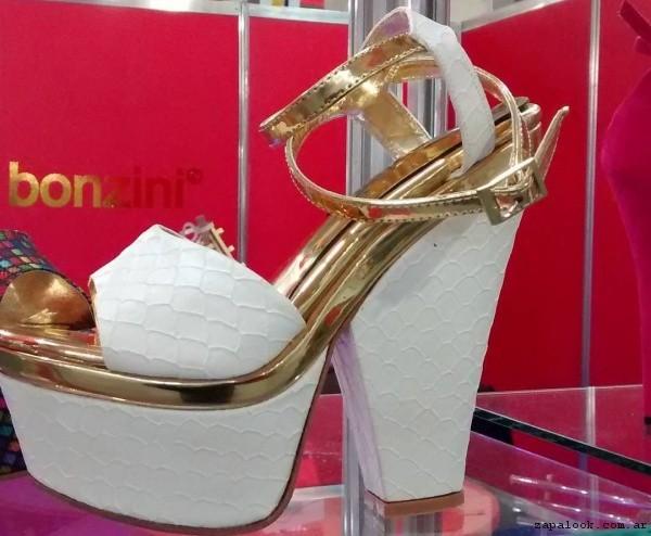 Sandalias blanca y dorada  verano 2017 Bonzini Shoes
