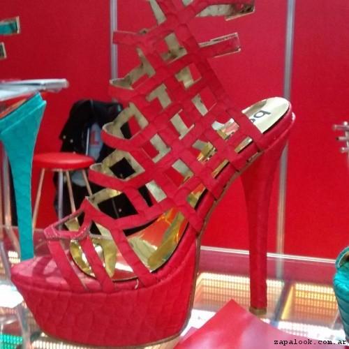 sandalia multiples tiras roja  verano 2017 Bonzini Shoes