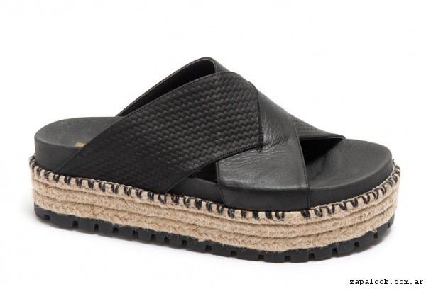 sandalias negra base yute verano 2017