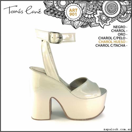 Sandalia blanca de charol con plataforma verano 2017 - Tomas Cane