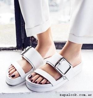Sandalias chatitas blancas primavera verano 2017 , Justa Osadia