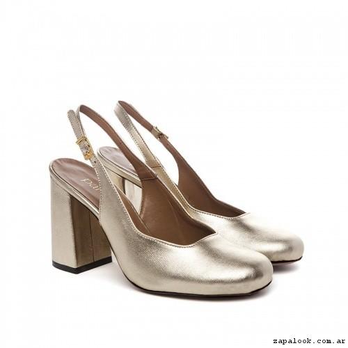 Zapatos punta redonda dorados verano 2017 - Paruolo