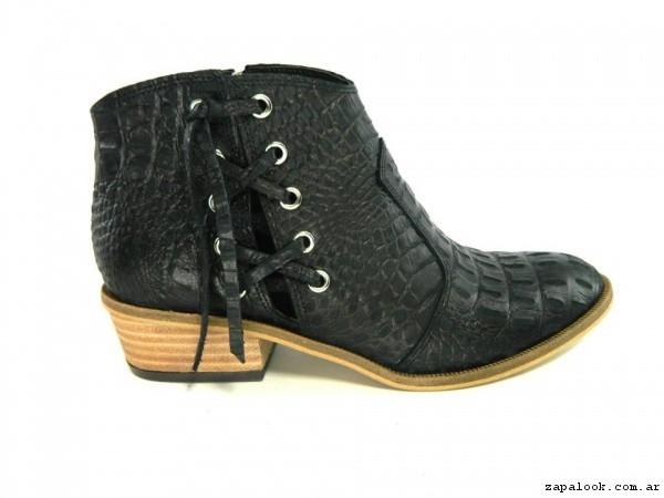 botinetas negras tiras cruzadas verano 2017 - Magali Shoes
