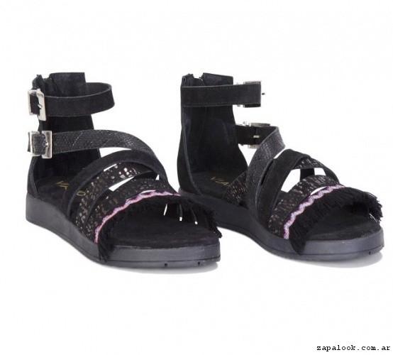 sandalias negras multiples tiras primavera verano 2017 - Viamo