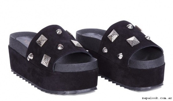 sandalias zuecos negras con tachas verano 2017 - Viamo