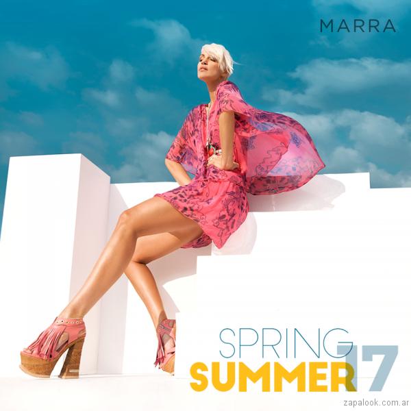 luciano marra sandalias rosas con flecos y plataformas verano 2017