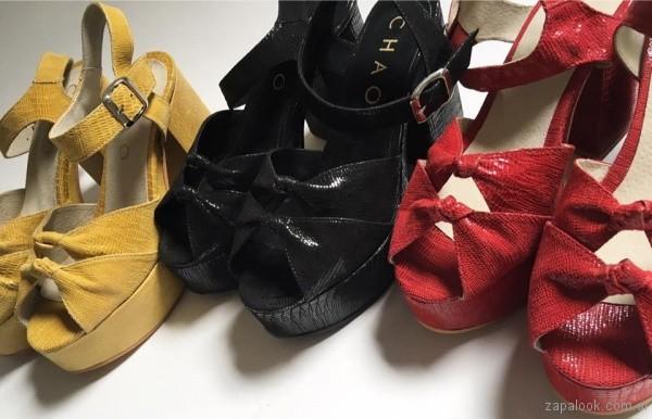 sandalias altas taco ancho verano 2017 chao shoes