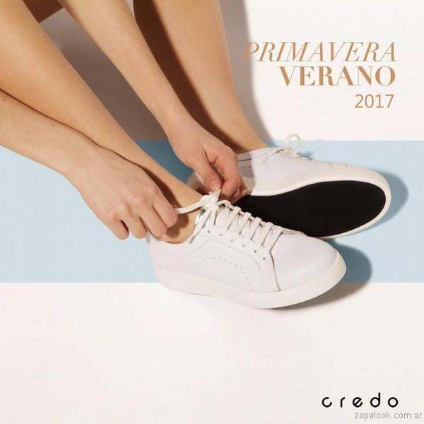 zapatillas blancas de cuero verano 2017 credo