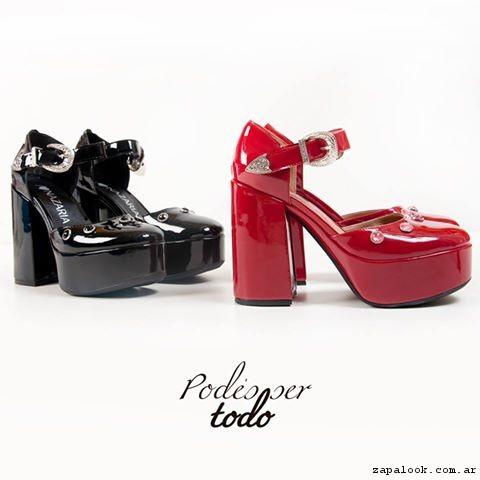 Zapatos altos de punta redonda verano 2017 - Nazaria