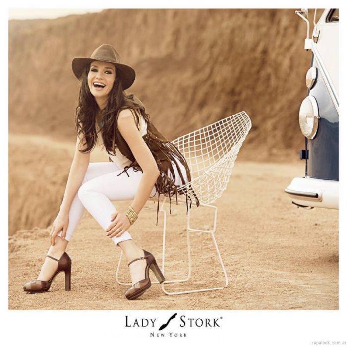 zapatos altos marrones lady stork primavera verano 2017