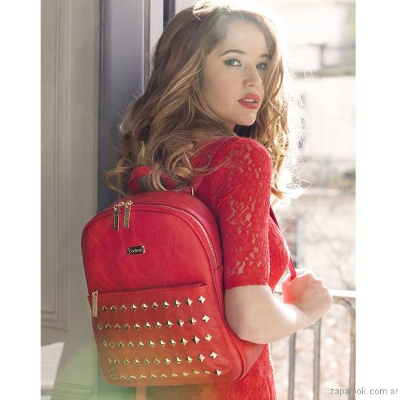 mochila roja de cuero primavera verano 2017 corium