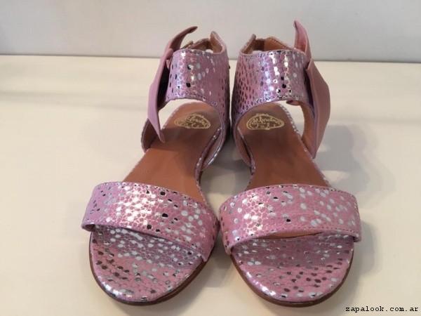 sandalias rosadas y plateadas verano 2017 - Alfonsina Fal