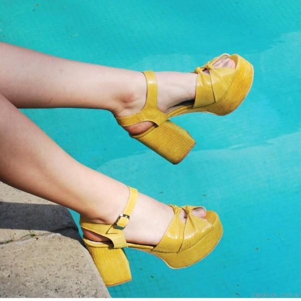 sandalias taco alto amarillas verano 2017 chao shoes