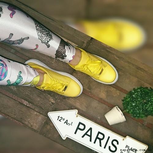 zapatillas urbanas mujer amarillas  - Micaela - Pasos que enamoran 2017