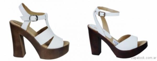 sandalias blancas con taco de madera 2017 berna