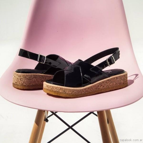 sandalias de charol base simil corcho verano 2017 margie franzini