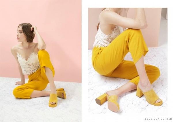 sandalias de gamuza amarillas verano 2017 sibyl vane