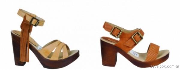 sandalias marrones con taco de madera 2017 berna
