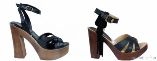 sandalias negras con taco de madera 2017 berna