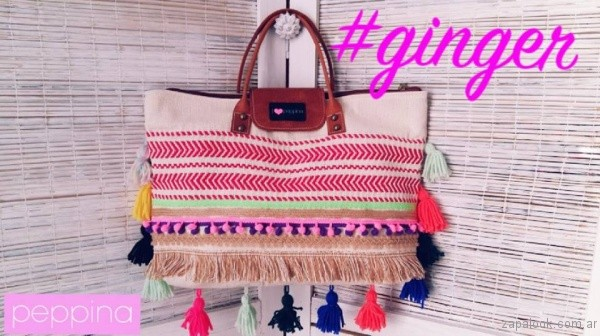 bolso grande bordado verano 2017 i love peppina