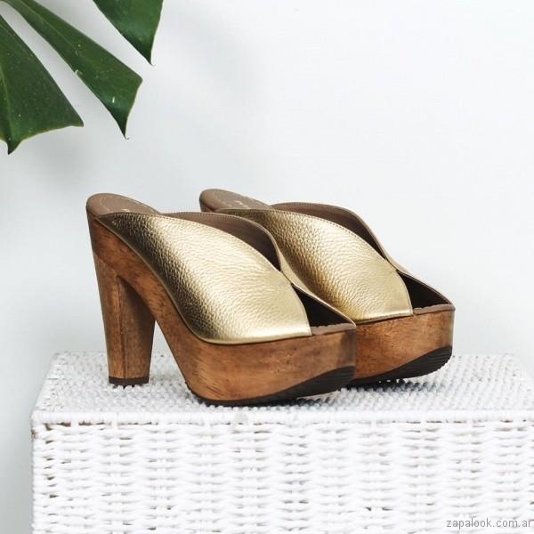 sandalia alta dorada base de madera verano 2017 priscila bella
